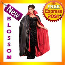 C878FN Satin Reversible Cape Deluxe Red Black Vampire Witch Gothic Halloween