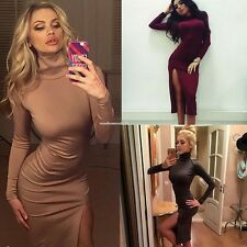 Women Fashion Turtle Neck Long Sleeve Package Hip Bodycon Party Pencil Dress