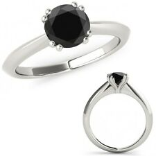 1.25 Carat Black Diamond Double Prong Solitaire Beautiful Ring 14K White Gold