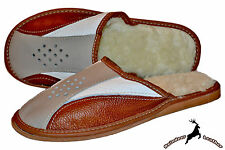 Mens Genuine Buffalo Handmade Leather Scuff Slippers Shoes Warm S Wool All Size