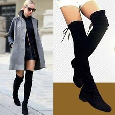 US Size Women Slim Leg Thigh High Booties Cow Leather Over the Knee Flat Boots