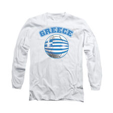 Greece Pride Soccer Ball Flag Adult Long-Sleeve T-Shirt