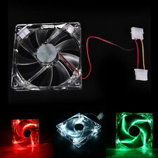 Quad 4-LED Light Neon Clear 120mm PC Computer Case Cooling Fan for DIY JG