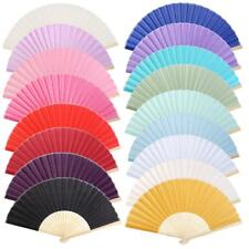 Chinese Folding Bamboo Pocket Solid Color Dancing Wedding Party Hand Fan Gift