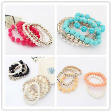 Mix Flower Beads Stretch Bracelet Temperament Alloy Resin Rhinestone Bangle 1pc