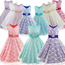 Formal Flower Girls Kid Bridesmaid Party Pageant Princess Lace Gown Dress + Sash