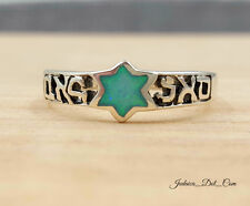 Jewish Kabbalah Silver Ring with Blue Opal Star Of David Power Of Prosperity New