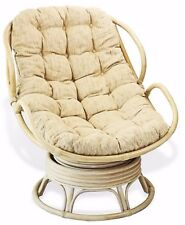 Handmade Rattan Wicker Swivel Rocking Chelsea Papasan Chair with Cream Cushion.