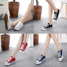 Classic Women Lady Low Top Casual Plimsoll Shoes Sneakers Student Sports Shoes