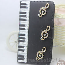 Bling Luxury black piano notes Diamonds Crystal PU Leather flip Cover Case #K