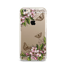 Butterfly Flowers Floral TPU Rubber Silicone Clear Case Cover Back Apple iPhone