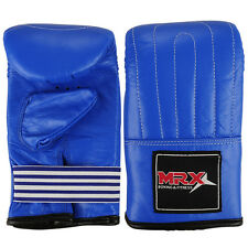 BOXING BAG GLOVES MMA KICKBOXING PUNCH MITT COWHIDE LEATHER BLUE