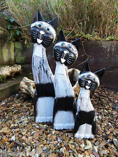 Fair Trade Hand Carved Made Wooden Wood Tall Cat Statues Ornament Set Of 3