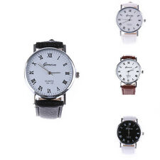 Fashion Men Women Geneva New Leather Analog Stainless Steel Quartz Wrist Watch