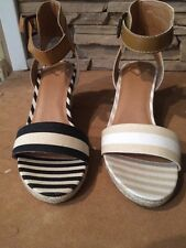 New in Box NIB Madeline Womens Shoes sandals wedge ankle strap Black Beige