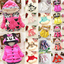 Kids Girls Winter Warm Padded Hooded Coat Jacket Parka Toddler Outwear Clothes