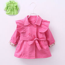 TBaby Girl Spring Fall Winter Outerwear 100% Cotton Solid Wind Belt Jacket Coat