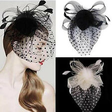 Party Fascinator Veil Decor Hair Accessory Feather Lace Hat with Clip for Lady