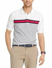 NWT Mens IZOD Advantage Pique Polo Shirt White Navy Striped Short Sleeve S XXL