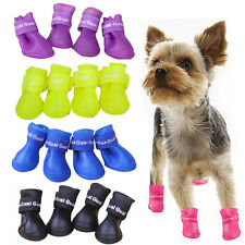 4Pcs Hot Pet Dog Puppy Waterproof Rubber Shoes Boot Antiskid Colorful Rain Boot