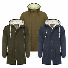 Mens Tokyo Laundry Parka Parker Padded Lined Winter Jacket  Faux Fur Hooded Coat