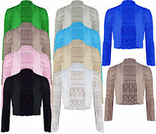 Ladies Womens Long Sleeves Knitted Crochet Bolero Shrug Cropped Cardigan Top