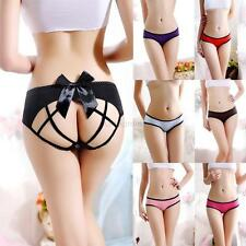 Women Sexy Polyester Lace Briefs Crotchless Panties Bow Intimate Thongs Lingerie