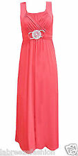 LONG CORAL BRIDESMAID FORMAL GOWN BALL PARTY EVENING PROM BUCKLE MAXI DRESS