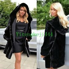 Luxury Women Parka Coat Overcoat Long Winter Faux Fur Hooded Jacket Outwear New