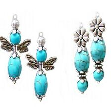 Earrings Turquoise silver petite drop, choose style and clip on or pierced