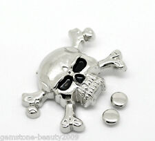Wholesale HOT! Silver Tone Skull Crossbone Spike Rivet Studs Spots 4.4cmx2.9cm