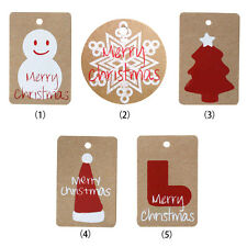 50pcs Christmas Kraft Brown Gift Paper Label Price Hang Tags Cards Wedding Use