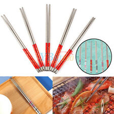 Portable 5Pairs Flower Stainless Steel Home Dinner Chopsticks Anti-slip Assorted