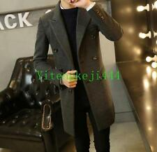 Mens long coat trench overcoat wool blend buttons business Parka thick jacket YT