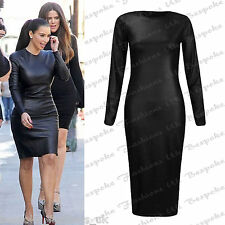 Ladies Womens Black Long Sleeve PU Wet Look Bodycon Midi Dress Plus Size 8-20