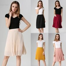 Ladies Womens Chiffon All Over Nieve Pleated Woven Casual Midi Skirt UK 8-14 BLL