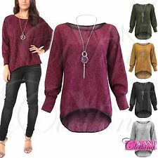 New Plus Size Women Knitted Batwing Necklace Dip Hem Long Sleeve Ladies Top 8-18