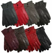 LADIES 100% GENUINE SHEEPSKIN WINTER WARM LEATHER LINED DRIVING DRESS GLOVES