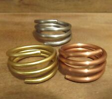 Brass Stainless Copper Wire Rings Set of 3, Size 6 7 8 9 10 11 12 13 14 15, #127
