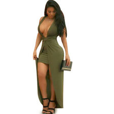 Women Sleeveless V-neck Split Bandage Bodycon Cocktail Evening Pary Club Dresses