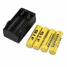 4pcs18650 3.7V 9800mAh Rechargeable Li-ion Battery & Charger For Flashlight Hot~