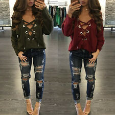 Sexy Women Lace Up Long Sleeve Deep V Neck Clubwear Tops Blouse T Shirts New G