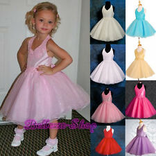 Beaded Halter Formal Dress Wedding Flower Girls Pageant Party Size 2T-7 FG013