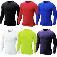 Mens Compression Soccer Sportswear Base Layers Thermal Long Sleeve T-Shirt S-XXL