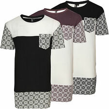 Mens Soulstar Long Line Crew Neck T-Shirt Contrasting Pattern Clothing Top