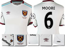 16 / 17 - UMBRO WEST HAM UNITED AWAY SHIRT SS + PATCHES  MOORE 6 = KIDS SIZE
