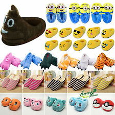 Emoji Pokemon Winter Warm Anti Skid Slippers Women Men Indoor Home Plush Shoes