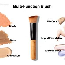 New Flat Angled Wooden Liquid Foundation Powder Contour Bronzer Makeup BLLT