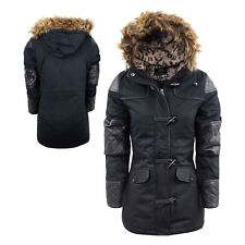 Ladies Winter Coat Brave Soul 'Saranna' Parka Jacket Fur Hood PU Leather 8-16