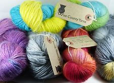 Wee County Yarns Hand Dyed Chunky 100g wool/silk/mohair VARIOUS SHADES